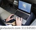 Hands Laptop Chat Conversation Bubble Graphic 31150583