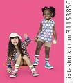 Children Girlfriends Smiling Happiness Friendship Togetherness Studio Portrait 31153856