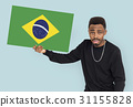Man Hands Hold Brazil Flag Patriotism 31155828