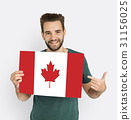 Man Hands Hold Canada Flag Patriotism 31156025