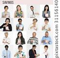 Diverse people saving piggybank collection set 31156140