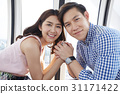 A photo of happy young couple in love and hands in hands. 31171422