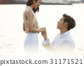 Romantic proposal scene with happy woman and man. 31171521