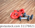 Boxing Glove and Dumbbells in Fitness Room 31176621