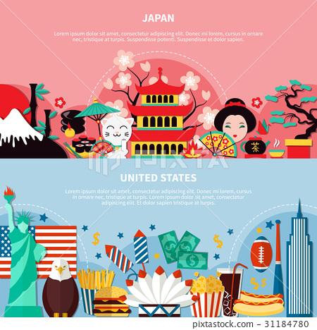 Japan And United States Horizontal Banners  31184780
