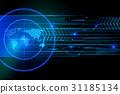 Glowing Search Radar On Black Background 31185134