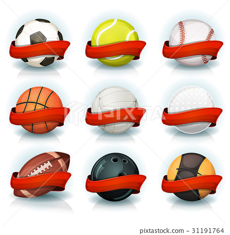 Set Of Sports Balls With Red Banners 31191764