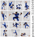 The two judokas fighters fighting men 31192049