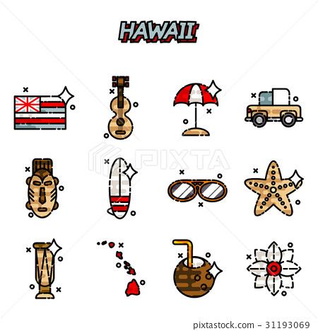 Hawaii flat icons set 31193069