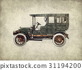 Vintage retro car hatching hand drawing 31194200