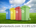 Four colorful recycle bins on green grass.  31195120