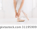 Young ballerina dancing, closeup on legs and shoes 31195909