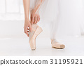 Young ballerina dancing, closeup on legs and shoes 31195921