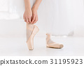 Young ballerina dancing, closeup on legs and shoes 31195923