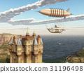 Fantasy airship and Scottish castle 31196498