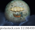 Fantasy airship in front of the moon 31196499