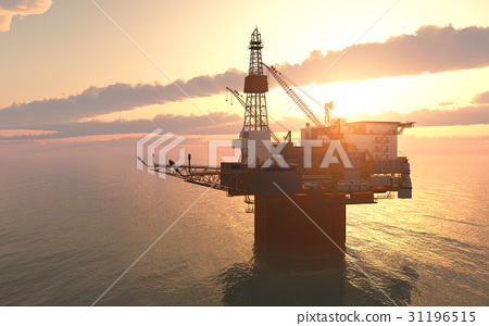 Oil platform against a sunny sky 31196515
