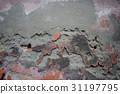 Damaged plastered wall of old building 31197795
