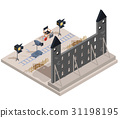 Vector isometric illustration of a film set with a 31198195