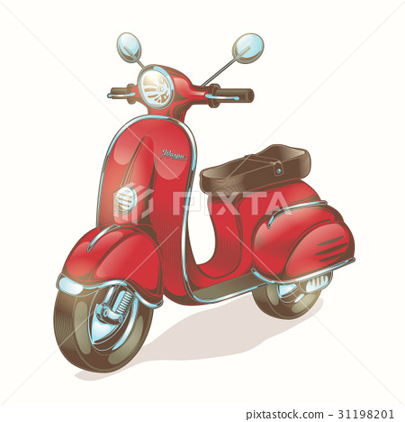 Vector color illustration red scooter, moped 31198201
