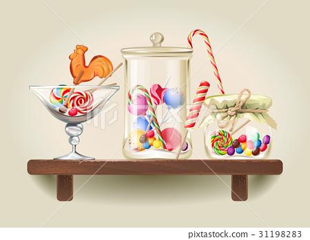 Sweets in glass jars on wooden shelf 31198283