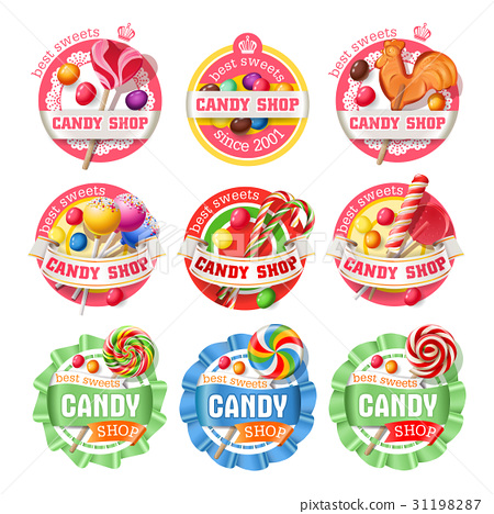 Vector set of lollipop logos, stickers 31198287