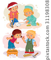 Set icons little boy sick and compassionate girl 31198308