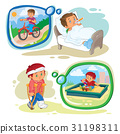 Set clip art illustrations little boy sick 31198311