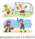 Set icons of boys playing football and baseball 31198373