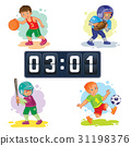 Set icons of boys playing basketball, football 31198376