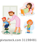 Set icons little girl sick 31198481