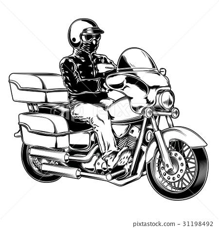 Biker isolated on white 31198492