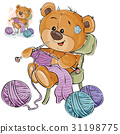 Vector illustration of a brown teddy bear sitting 31198775