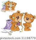 Vector illustration of a brown teddy bear tailor 31198779