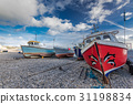 Fiherman boats on pebles at beach in Beer,UK 31198834