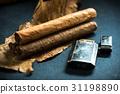 Cuban cigars on tobacco leafs 31198890