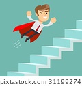 Flying Super businessman in red cape climbing 31199274