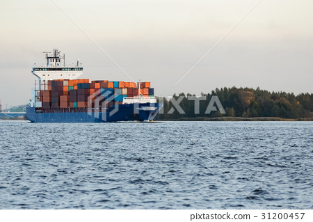 Blue container ship 31200457