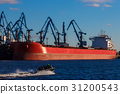 Red cargo ship loading 31200543