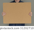 Man Holding Cork Board Copy Space Concept 31202710