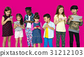 Happiness group of cute and adorable children using digital devices 31212103