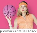 Caucasian Blonde Woman Holding Basketball 31212327