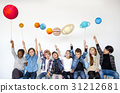 Happiness group of cute and adorable children with solar system in universe 31212681