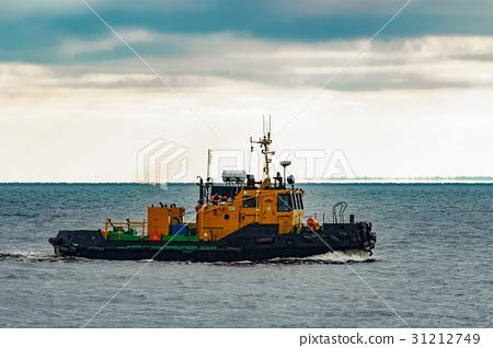 Small orange tug ship 31212749