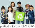 Kids and plastic bottles in a recycle bin 31212765