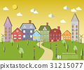stock vector green sustainable cityscape with tree 31215077