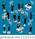 Set of isometric people in business suits in the 31222315