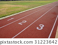 Red treadmill, track running at the stadium  31223642