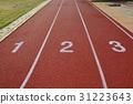 Red treadmill, track running at the stadium  31223643