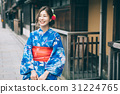 A woman in a yukata sightseeing the city of Gion 31224765